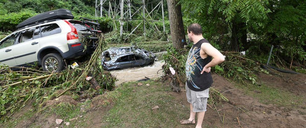 PHOTO: After searching for his vehicles, even contacting police to asked whether it had been towed, Adam Caracciolo of Plum, Pa., discovered his 2019 Honda Kona was washed away into the Plum Creek on Monday, July 22, 2019.
