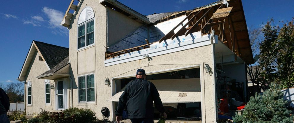 PHOTO: Dave Shank shown here at his damaged home on Chelsea Court, in Thornbury Township, Pa, where a severe storm hit the area Friday, Nov. 1, 2019.