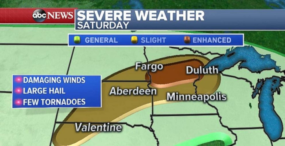 Damaging winds, hail and possibly even tornadoes are a threat for centeral Minnesota.
