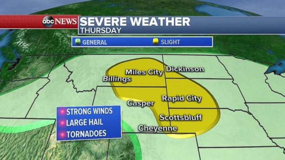 The concern on Thursday for severe weather will be across Montana, northeast Wyoming and western South Dakota and Nebraska.