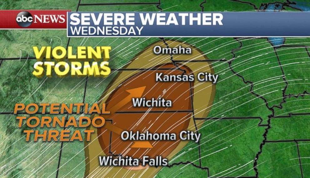 The threat for violent storms comes to the metro areas of Oklahoma City, Wichita, Kansas, and Kansas City on Wednesday.