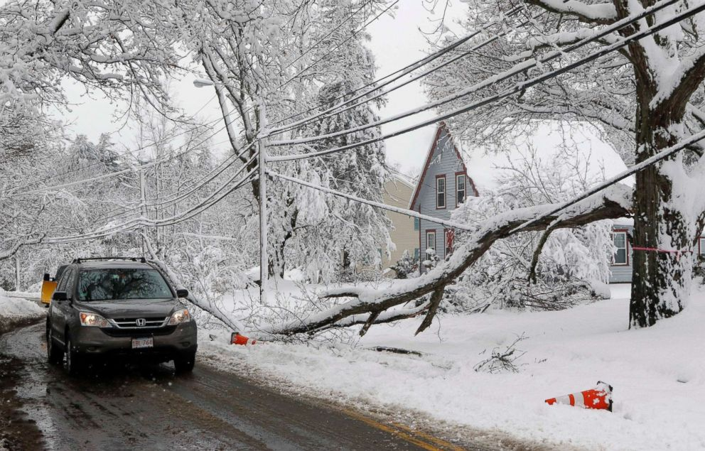 A motorist navigates around a downed limb partially blocking a road and resting on a power line after a snowstorm, March 8, 2018, in Northborough, Mass.
