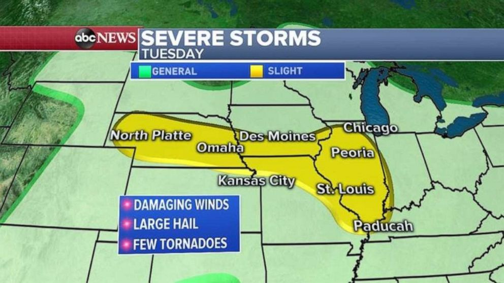 PHOTO: Damaging winds, hail, and tornadoes could be possible today in the Midwest.