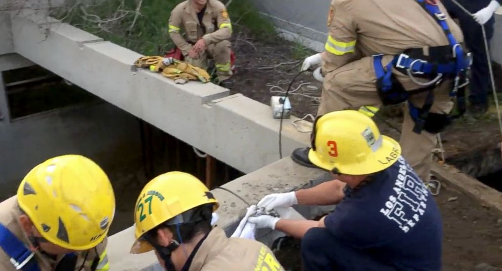 PHOTO: A 13-year-old boy was found alive on April 2, 2018, after falling through a wooden plank and being washed away into a network of drainage pipes in Los Angeles on April 1.