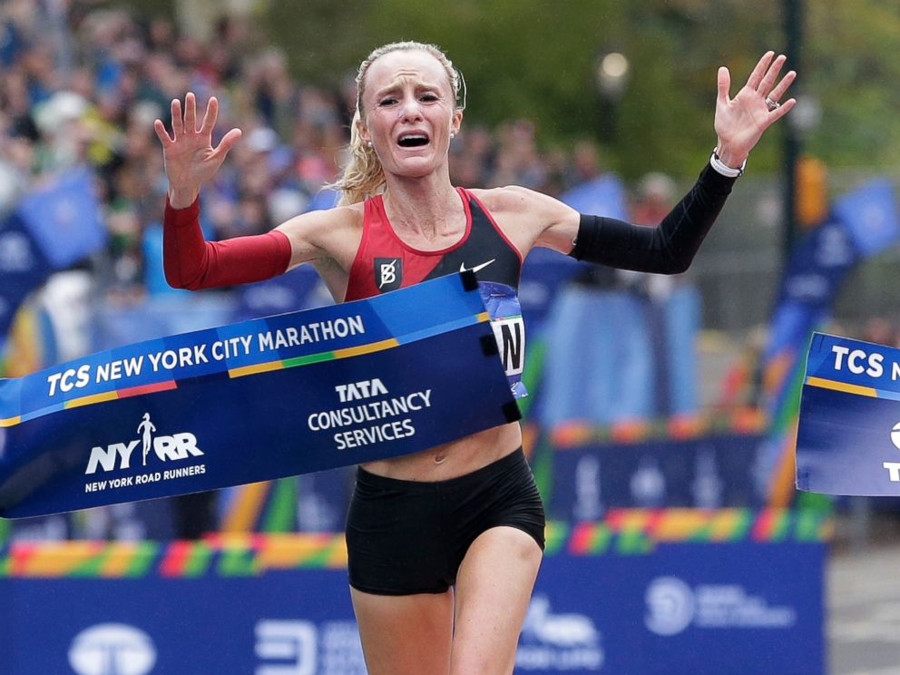 PHOTO: Shalane Flanagan of the United States crosses the finish line first in the womens division of the New York City Marathon in New York, Nov. 5, 2017.