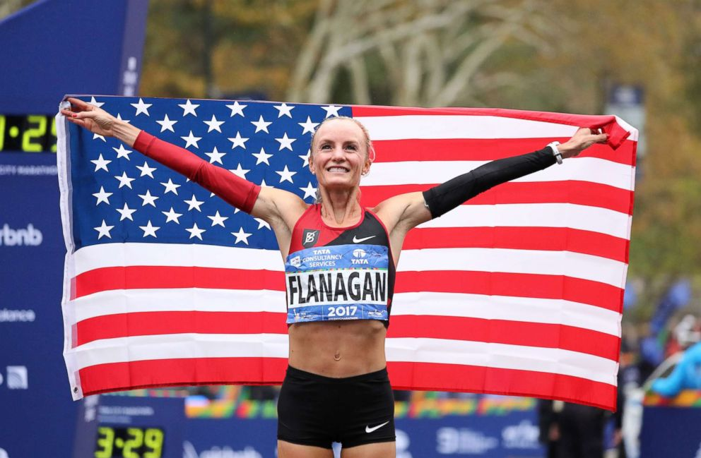PHOTO: Shalane Flanagan of the United States celebrates winning the Professional Womens Divisions during the 2017 TCS New York City Marathon in Central Park, Nov. 5, 2017 in New York City.