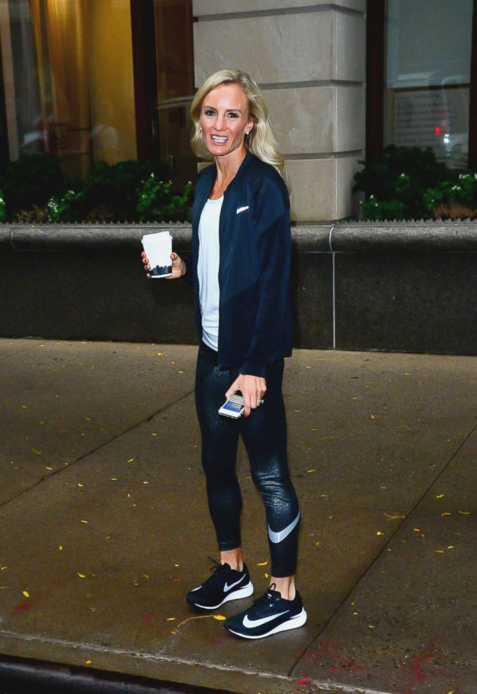 PHOTO: Shalane Flanagan is seen outside Live With Kelly, Nov. 6, 2017, in New York City.
