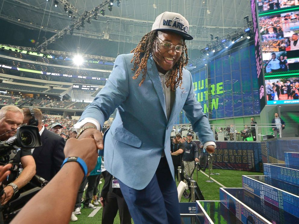 PHOTO: The Seattle Seahawks selected UCF linebacker Shaquem Griffin in the fifth round, 141st overall, during the final day of the 2018 NFL Draft at AT&T Stadium in Arlington, Texas, April 28, 2018.