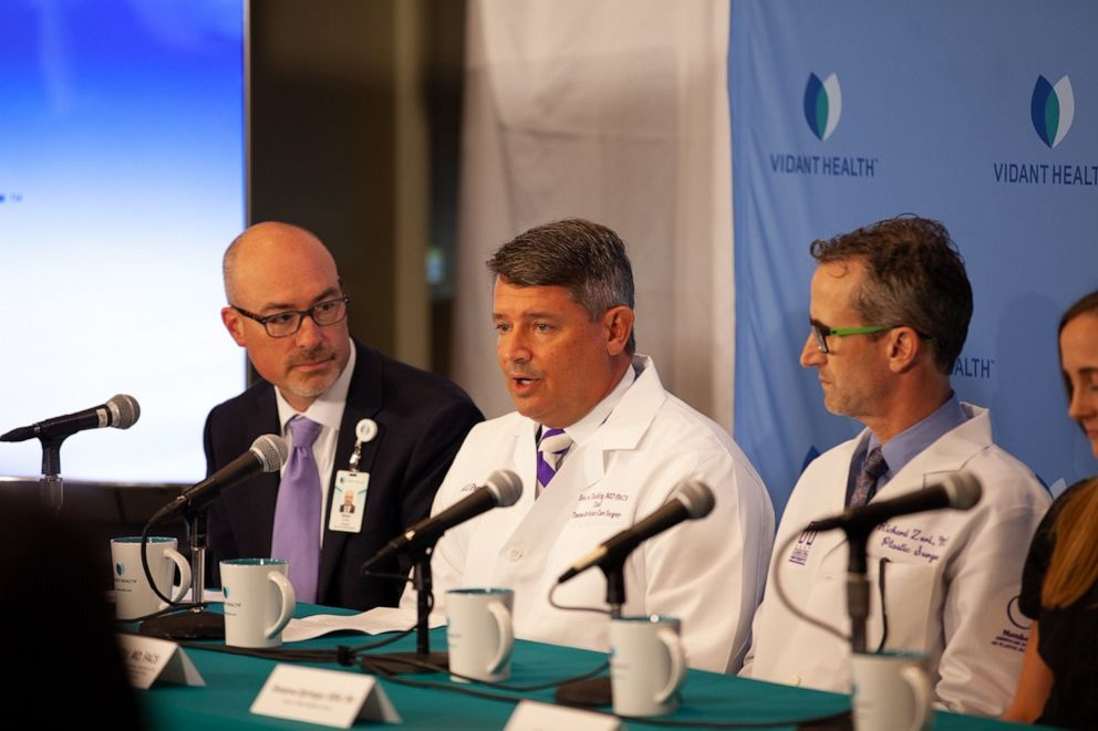PHOTO: Dr. Toschlog speaks about treating a shark attack patient Paige Winter at Vidant Medical Center in Greenville, N.C., June 17, 2019.