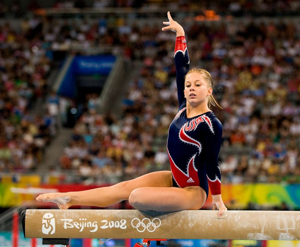 PHOTO: Shawn Johnson of the United States performs her gold-medal winning routine on the balance beam in individual apparatus finals on August 19, 2008, during the the XXIX Olympiad in Beijing.