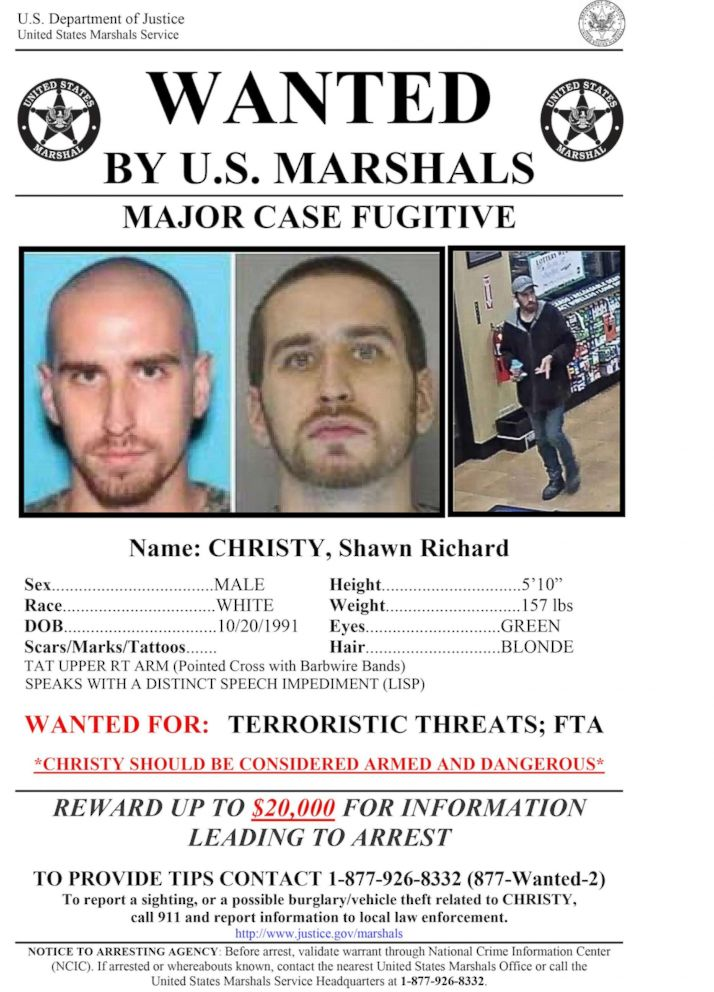 PHOTO: A wanted poster issued by the U.S. Marshals Service.