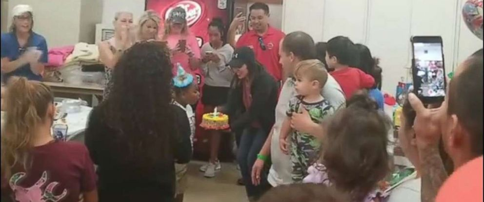 PHOTO: Texas boy celebrates his birthday in a shelter in the Deer Park neighborhood of Houston.