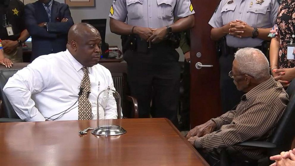 PHOTO: On June 13, 2019, Wake County Sheriff Gerald Baker is shown with Lynn Council, 86, who says two deputies hanged him from a tree in 1952.