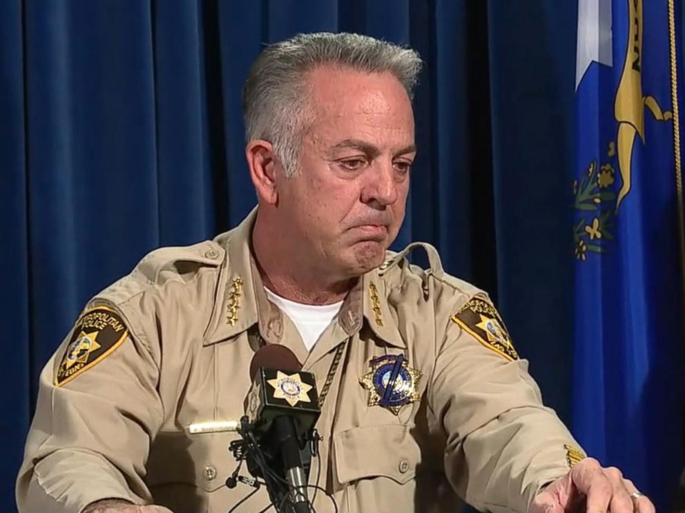 PHOTO: Clark Count Sheriff Joe Lombardo broke down in tears during a press conference Friday while praising some of his deputies for their response to the mass shooting on Oct. 1.