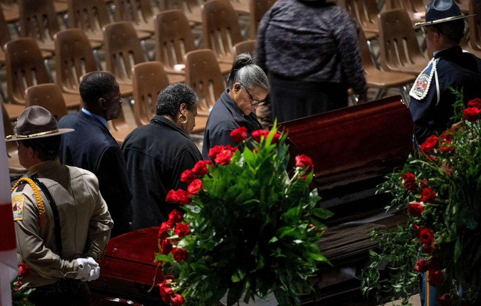 PHOTO: People pay their respects during the funeral of Lowndes County Sheriff Big John Williams at Garrett Coliseum in Montgomery, Ala., Dec. 2, 2019.
