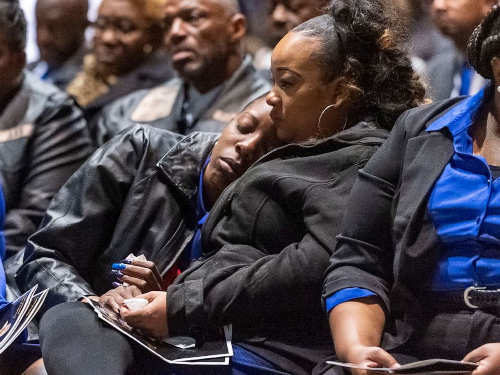 PHOTO: The family is comforted after the casket was closed during the memorial service for slain Lowndes County Sheriff Big John Williams, Dec. 2, 2019, in Montgomery, Ala.