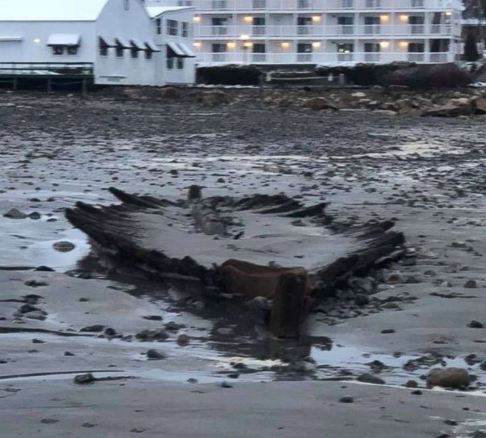 PHOTO: An estimated 160-year-old shipwreck was revealed on a beach in York, Maine after last weeks noreaster pummeled the Northeast coast.