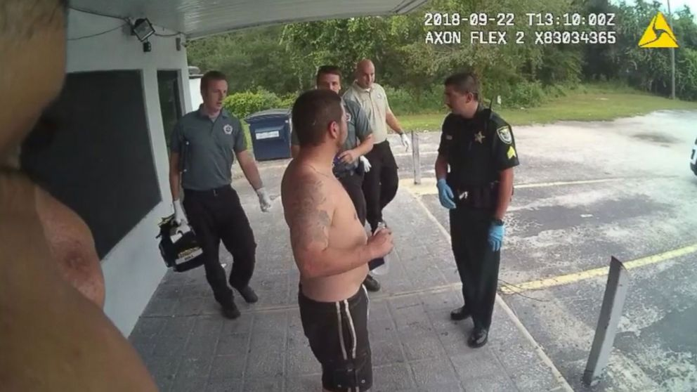 Volusia County Sheriff's deputies accuse a shirtless man of trying to break into a convenience store in DeLand, Florida.