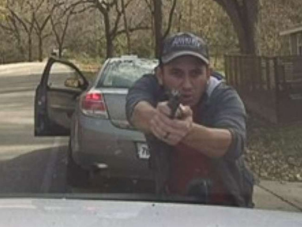 PHOTO: A Washington County Sheriffs dash cam shows Luis Cobos-Cenobio shooting at police after he was pulled over, Nov 11, 2018, in Washington County, Ark.