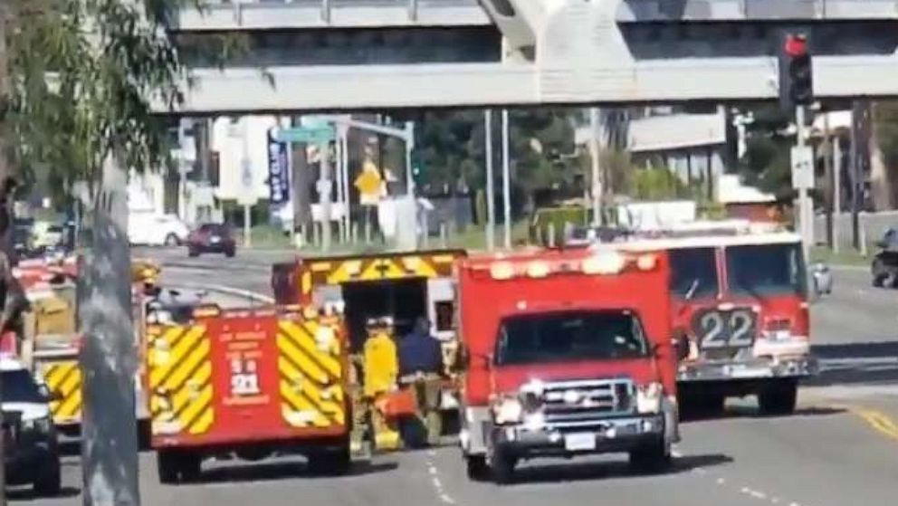 First responders at the scene of a police shooting in Hawthorne, Calif., April 7, 2019.