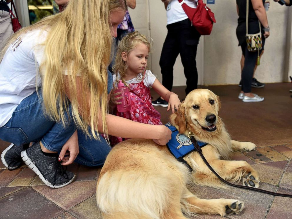 PHOTO: From left, Emmy Halulko, 13, and her sister Evie, 5, pet Jacob, a Lutheran Church Charities comfort canines whereas at the Parkridge Church in Coral Springs, Fla, Feb. 15, 2018, for a team prayer vigil for the Parkland high college shooting victims.