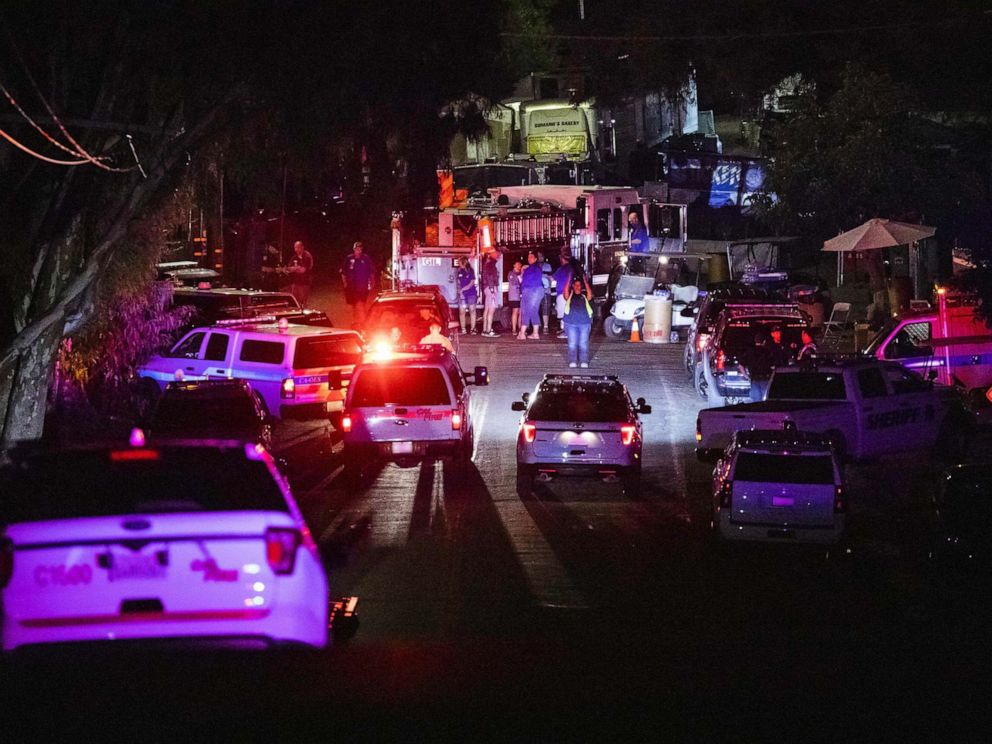 PHOTO: Police vehicles arrive on the scene of the investigation following a deadly shooting at the Gilroy Garlic Festival in Gilroy, 80 miles south of San Francisco, Calif., July 28, 2019.