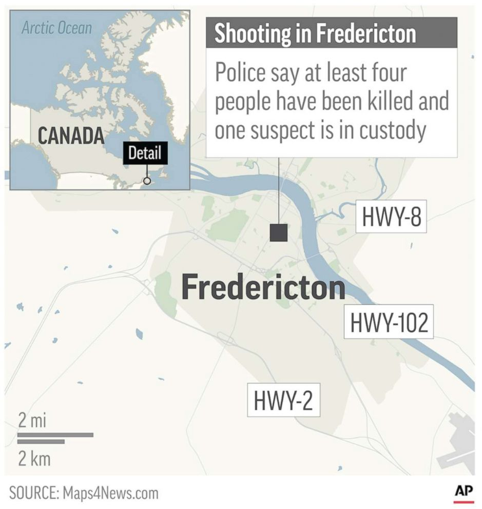 A map locates Fredericton, Canada, where a shooting has killed at least four people according to police, Aug. 10, 2018.
