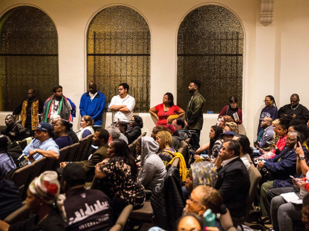 PHOTO: A large crowd fills the room for an emergency town hall meeting to discuss a shooting that led to the death of a 16 year old boy, at the New Congregational Missionary Baptist Church on Feb. 07, 2018, in Los Angeles.