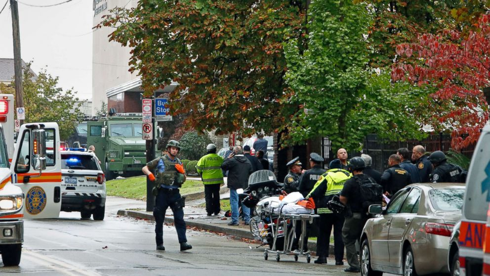 First responders surround the Tree of Life Synagogue in Pittsburgh where a shooter opened fire, Oct. 27, 2018.