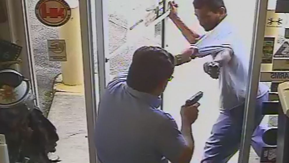 Surveillance video captured the shooting death of Cristobal Lopez at the Vets Army Navy Surplus store by the store's owner, Michael Dunn, after Lopez attempted to steal a hatchet, Oct. 3, 2018, in Lakeland, Fla.