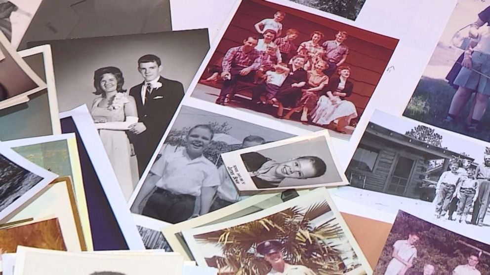 PHOTO: Family photos are displayed after Dennis Blackstone and Connie Rusk were reunited after 70 years of separation in Dallas, Texas.