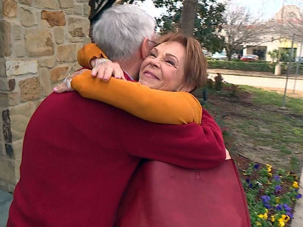 PHOTO: Dennis Blackstone hugs his sister, Connie Rusk, when the two were reunited after 70 years of separation in Dallas, Texas.