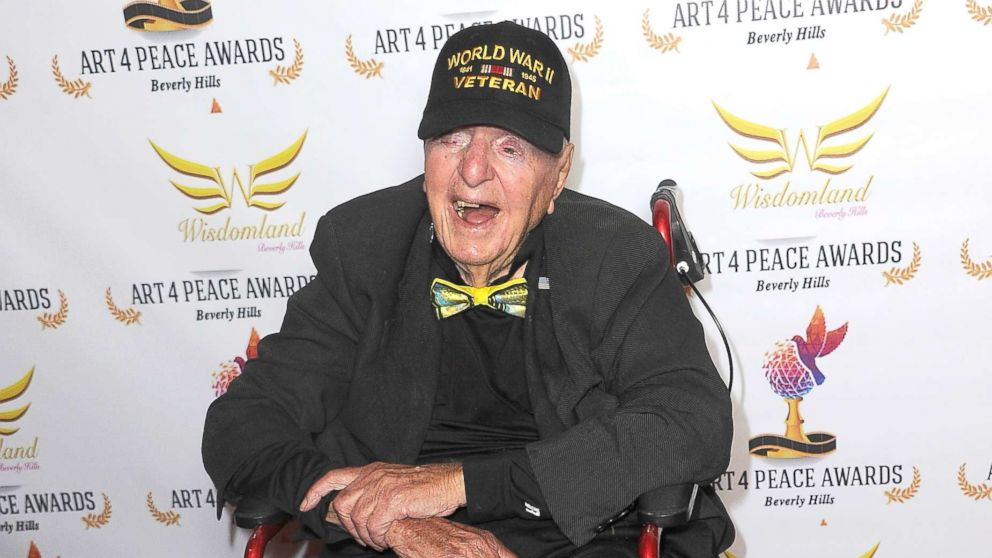 WWII Veteran Sidney Walton attends the 3rd Annual Art 4 Peace Awards 2018, Oct. 28, 2018, in Beverly Hills, Calif.