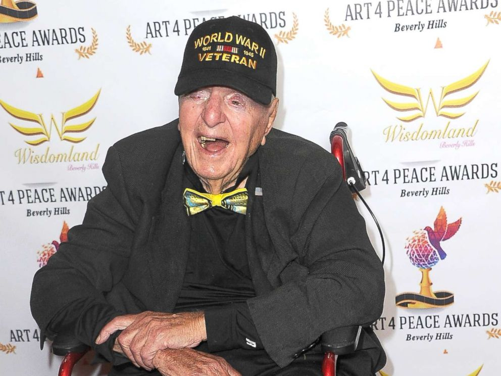 PHOTO: WWII Veteran Sidney Walton attends the 3rd Annual Art 4 Peace Awards 2018, Oct. 28, 2018, in Beverly Hills, Calif.