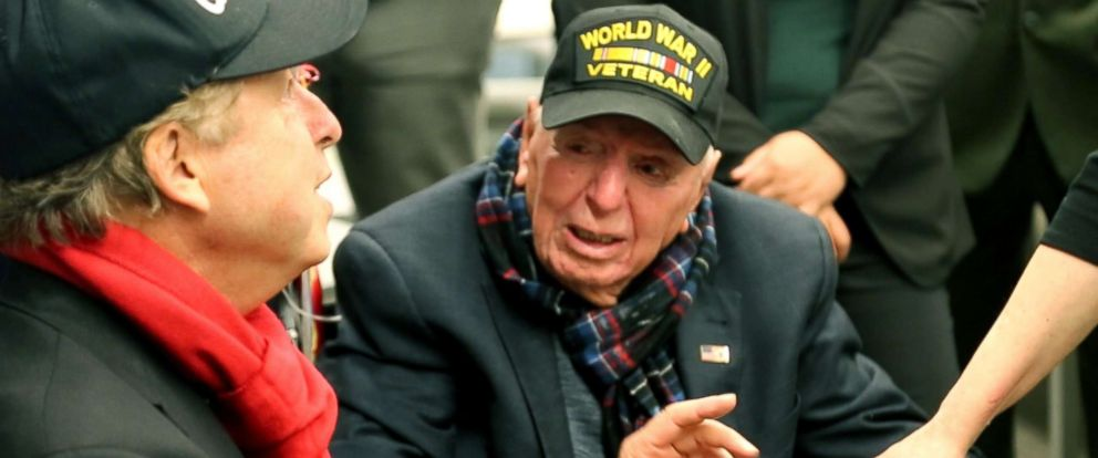 PHOTO: Cpl. Sidney Walton, a World War II veteran, celebrated his 100th birthday on Monday surrounded by family, friends and veterans in New York City including ABC News anchor David Muir.