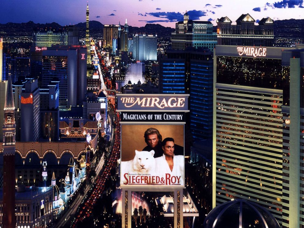 PHOTO: A photo of Siegfried & Roy overlooks the Las Vegas strip in this undated photo taken in Las Vegas, Nevada.