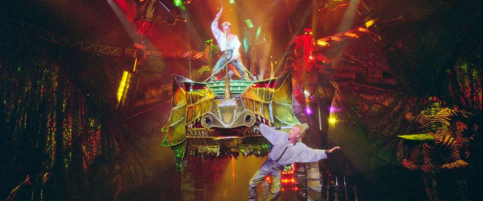 PHOTO: Las Vegas superstar Illusionists Siegfried (right) and Roy perform at the Mirage Hotel prior to Roys nearly fatal encounter with a white tiger on stage during one of their performances. Las Vegas, Nevada.