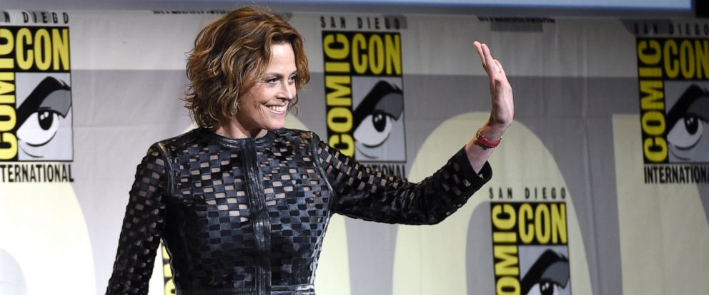 """PHOTO: Sigourney Weaver walks on stage at the """"Aliens: 30th Anniversary"""" panel on day 3 of Comic-Con International on Saturday, July 23, 2016, in San Diego."""