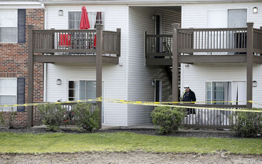 PHOTO: Crime scene tape surrounds an apartment building, April 29, 2019, after four relatives were found dead Sunday night at Lakefront at West Chester apartment complex.
