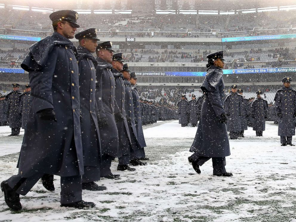 PHOTO: Simone Askew, first captain of the Corps of Cadets leads the march on before the game between the Army Black Knights and the Navy Midshipmen, Dec. 9, 2017 at Lincoln Financial Field in Philadelphia.
