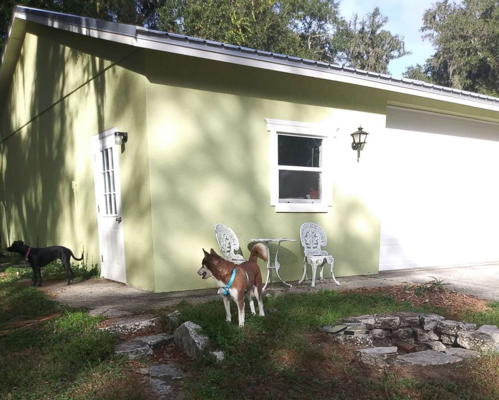 PHOTO: Sinatra the husky plays outside with Lucy at the Verrill family home in a Tampa, Fla., suburb before he was returned to his owners on Nov. 26, 2018, almost two years after he ran away from his Brooklyn, New York home.