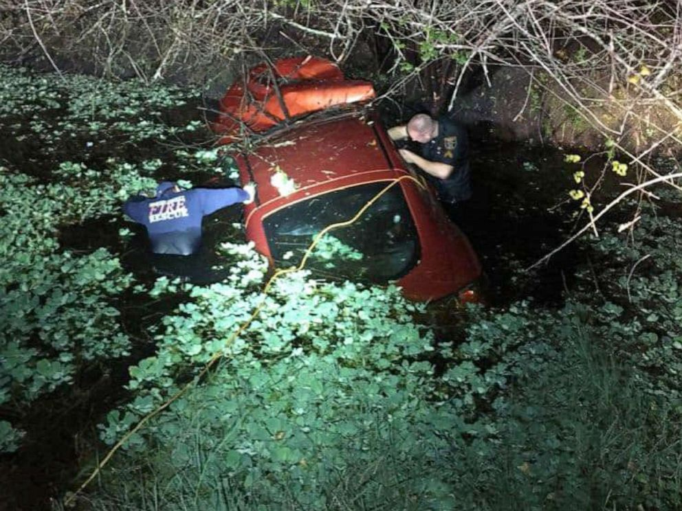 PHOTO: Martin County Sheriffs office said that they rescued a young woman and her dog from a sinking car after she crashed into a body of water in Indiantown, Fla., Dec. 3, 2019.