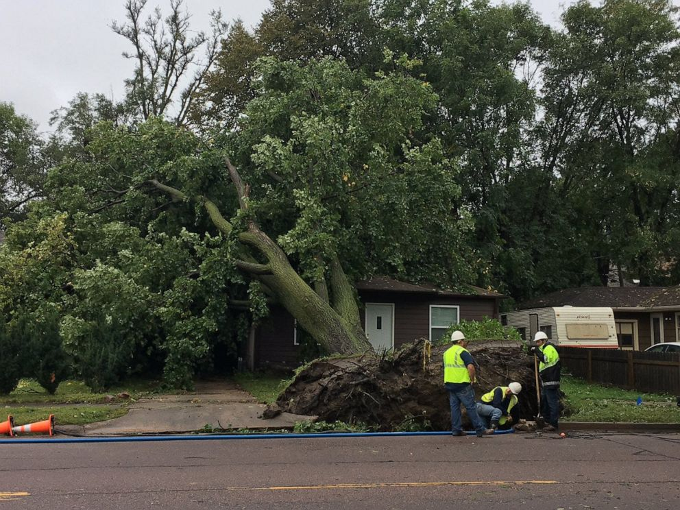 PHOTO: Crews work on repairing a gas leak at Western Ave. and 33rd St. after a late night Tuesday storm in Sioux Falls, Sept. 11, 2019.