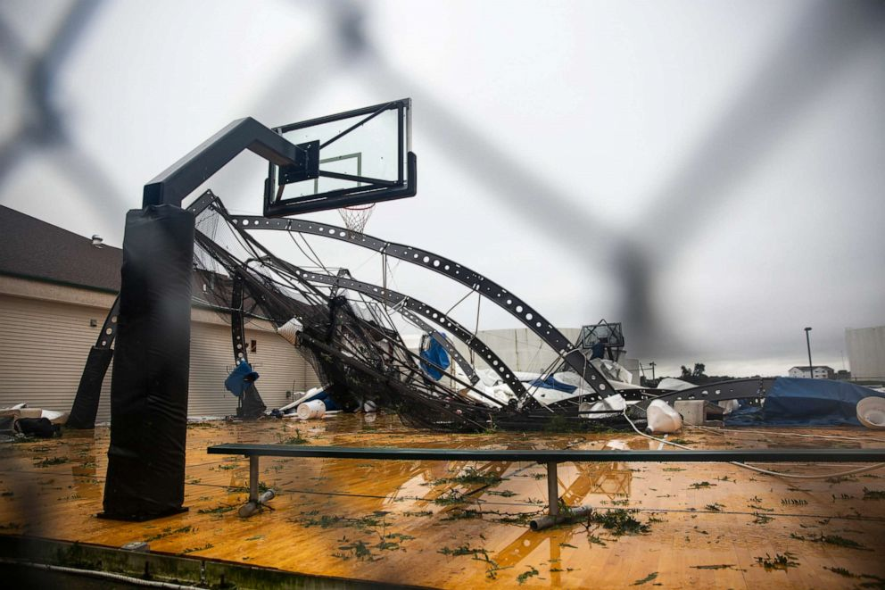 PHOTO: The Avera dome shows damage after a devastating tornado hit in Sioux Falls, S.D., Sept. 11, 2019.