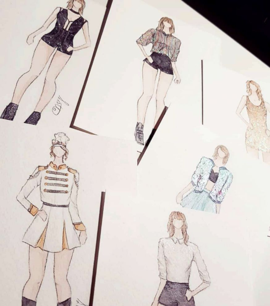 PHOTO: Lottes sketches of Taylor Swifts tour costumes before she recreated them.