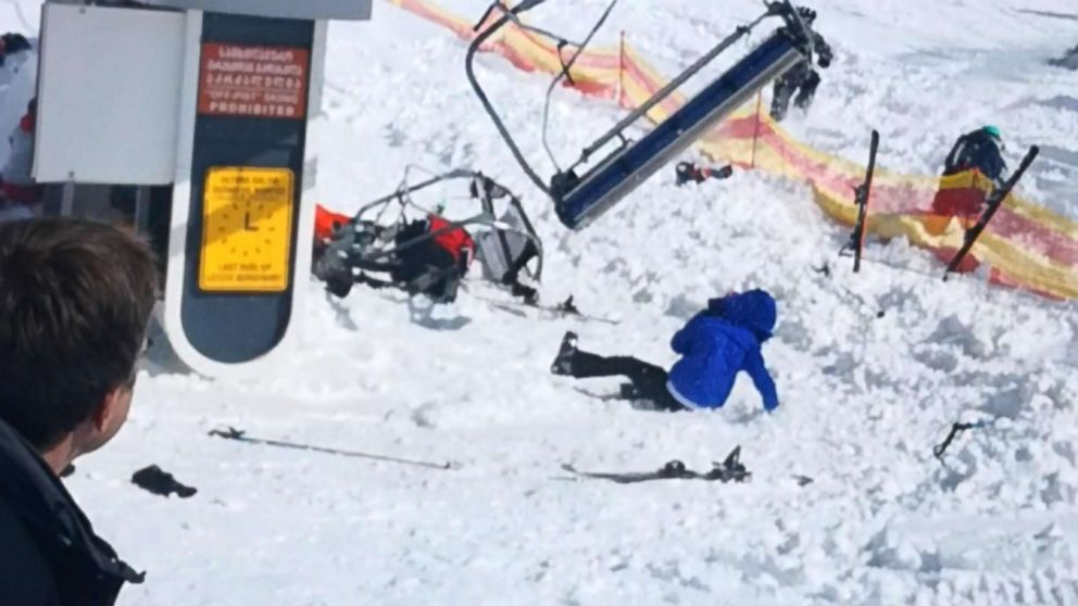 PHOTO: Malfunctioning equipment at Gudauri Ski Resort located on the south-facing plateau of The Greater Caucasus Mountain Range in Georgia, resulted in 11 injuries, March 16, 2018.