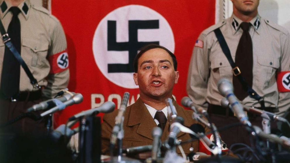 Nazi leader Frank Collin makes announcement at a news conference June 22, 1978 that he is calling off his band's march in the heavily Jewish suburb of Skokie.