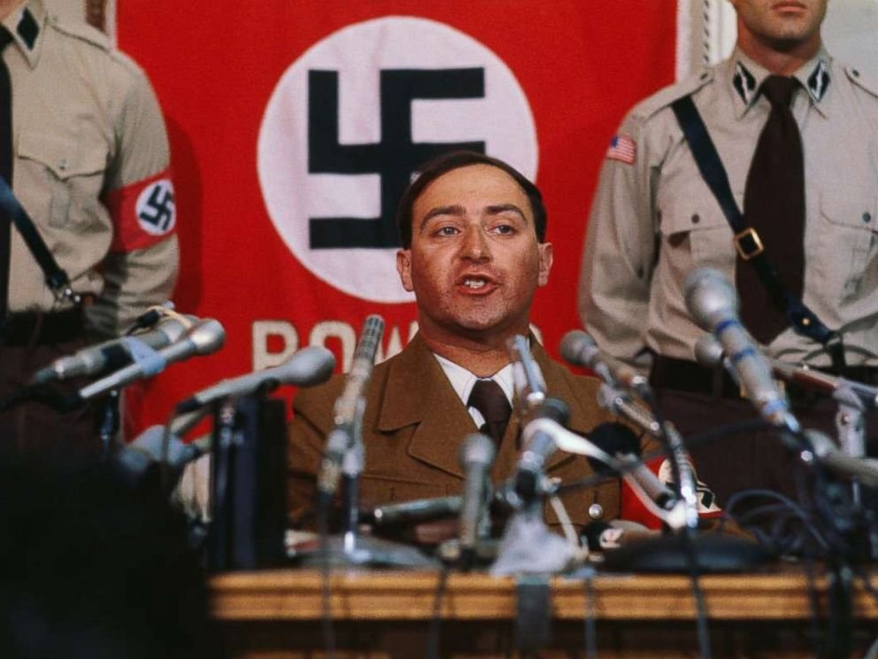 PHOTO: Nazi leader Frank Collin makes announcement at a news conference June 22, 1978 that he is calling off his bands march in the heavily Jewish suburb of Skokie.