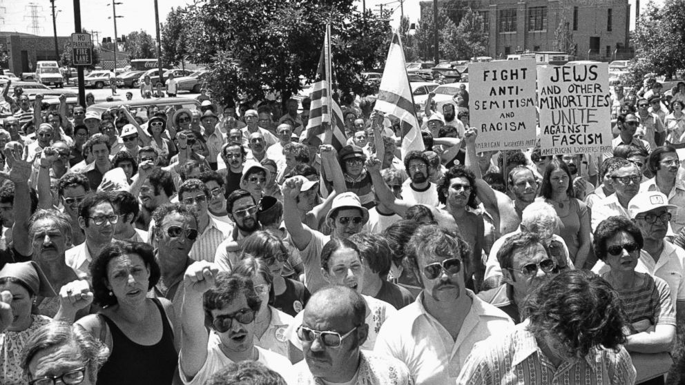 A large group of anti-Nazi demonstrators chant at a park in the predominantly Jewish Chicago suburb of Skokie, Illinois, July 4, 1977, protesting a possible future march in Skokie by Nazis.