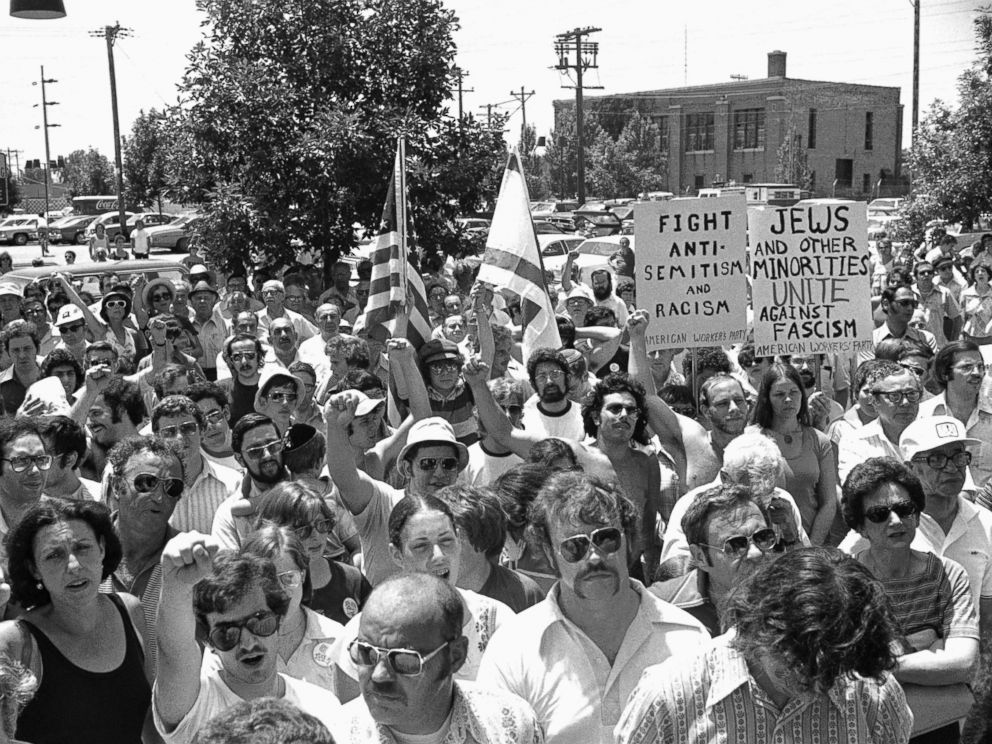 PHOTO: A large group of anti-Nazi demonstrators chant at a park in the predominantly Jewish Chicago suburb of Skokie, Illinois, July 4, 1977, protesting a possible future march in Skokie by Nazis.
